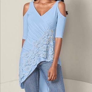 VENUS lace cold shoulder top size S
